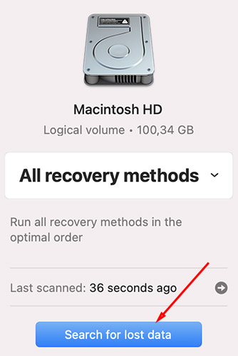 search for lost data with disk drill