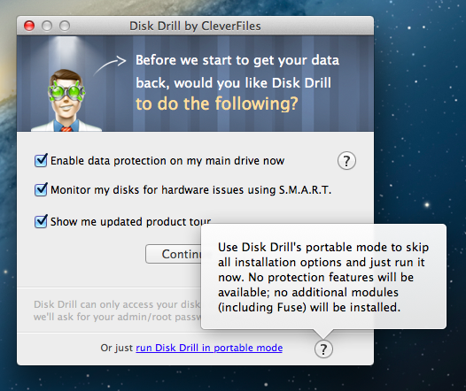 Install Disk Drill in portable mode