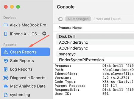 find crash reports in console