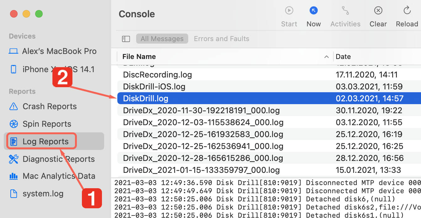 find disk drill log file in console