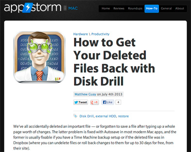 Disk Drill reviewed again by AppStorm