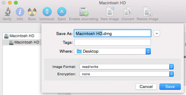 Create uncompressed disk image file with Disk Utility