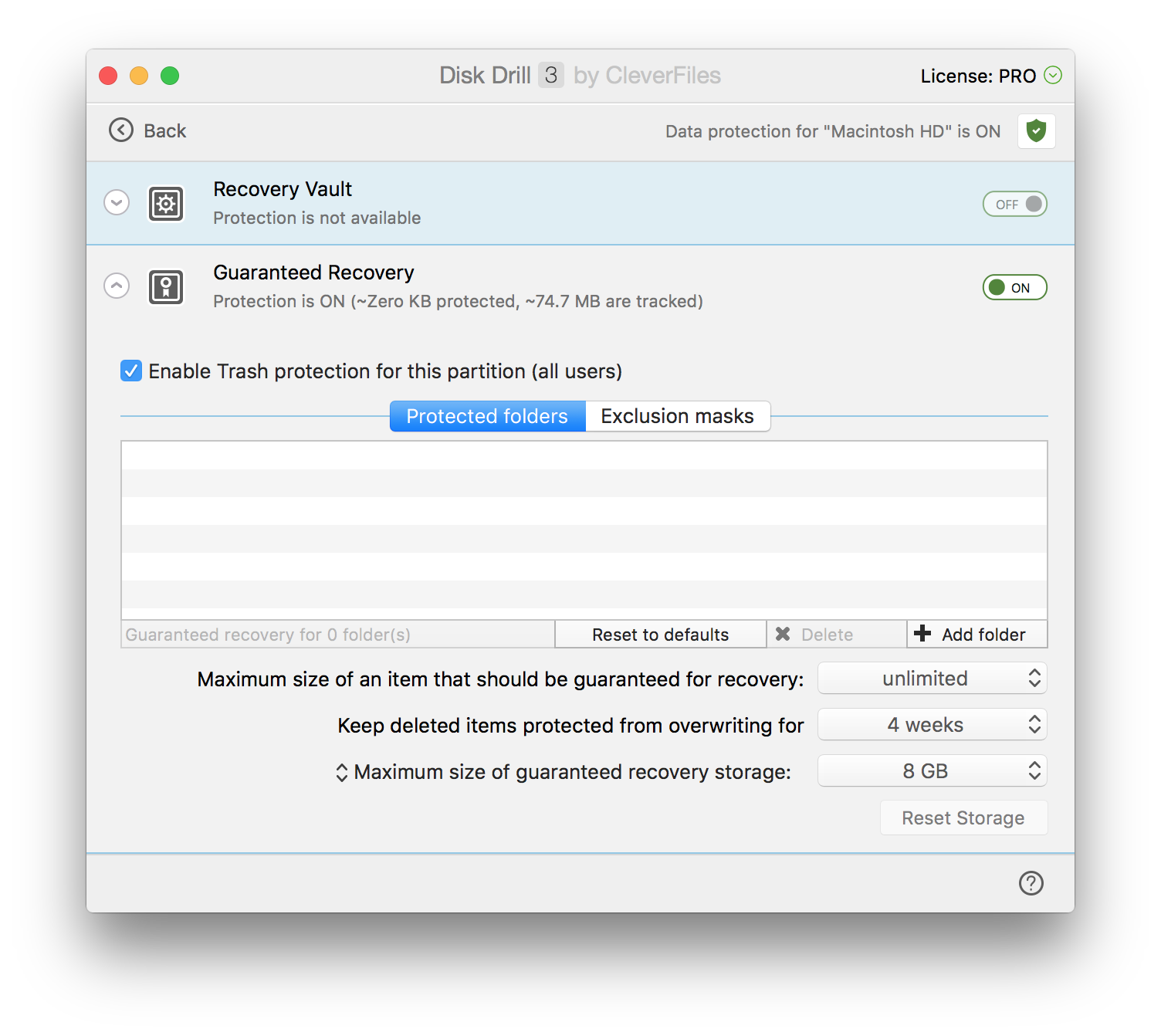 Disk Drill 3 Data Protection Options