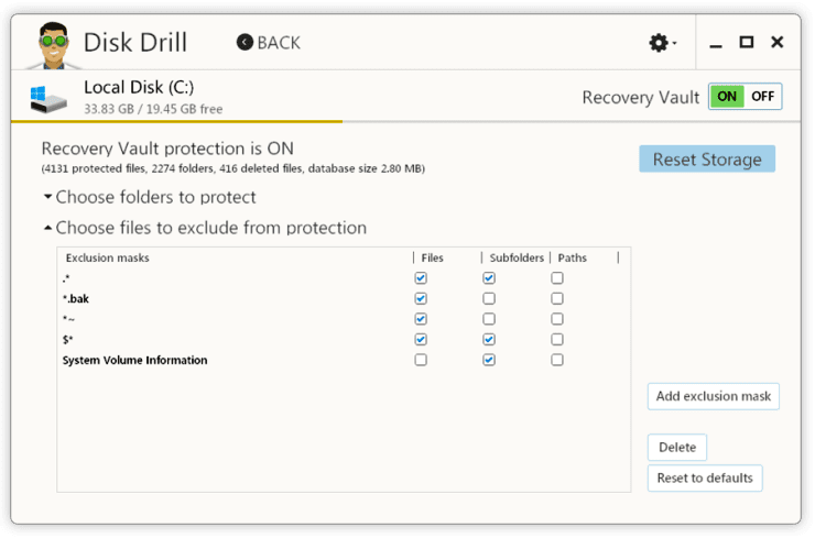 Recovery Vault module in Disk Drill