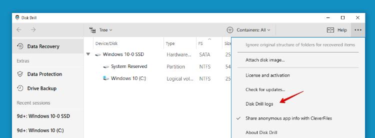 Log files for Windows