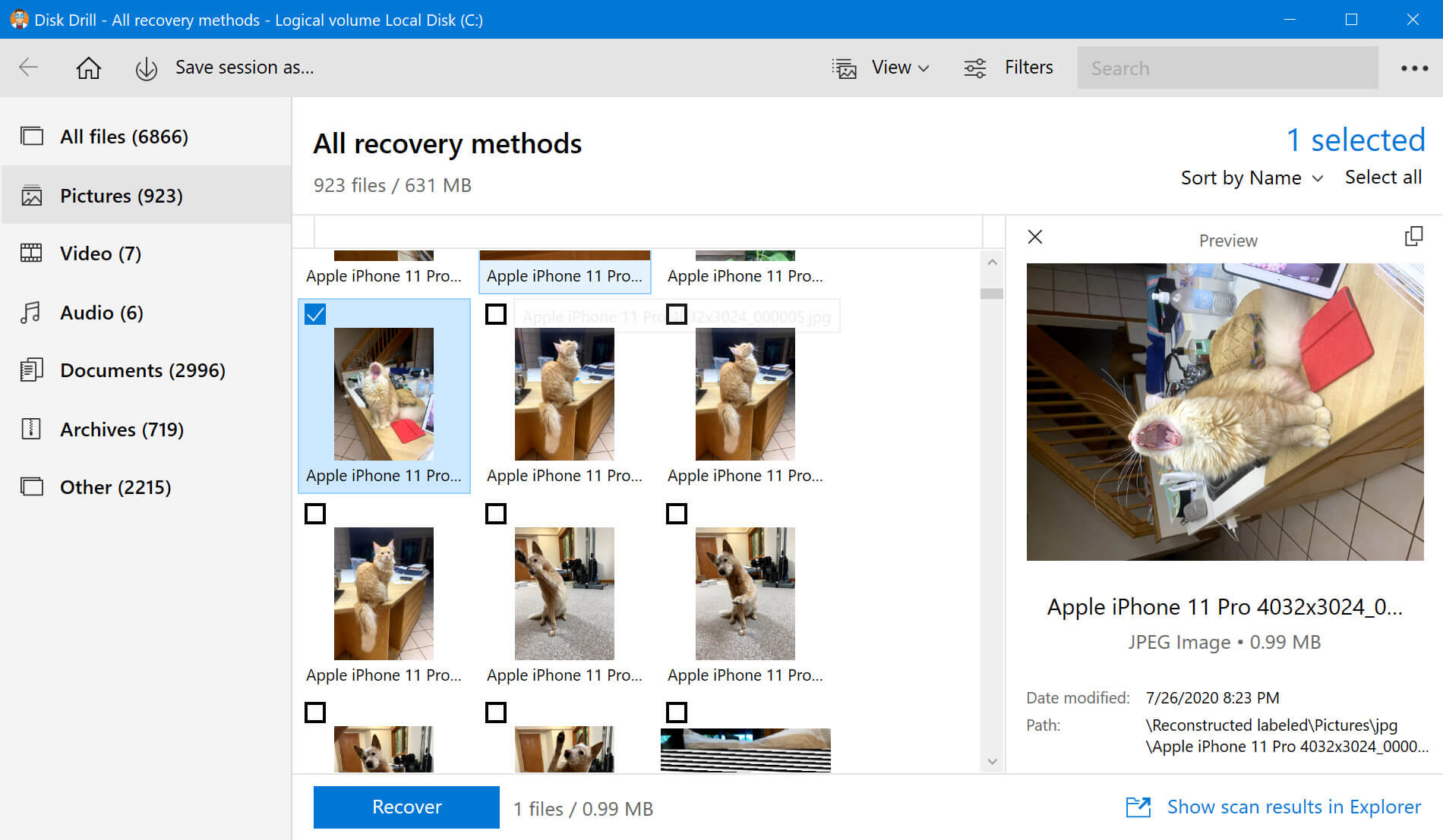 preview the files before recovery