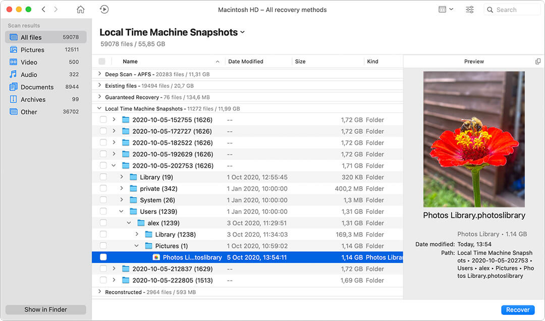 apple time machine scan