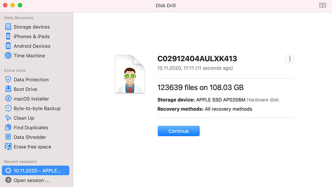 disk drill continue data recovery scan from session file