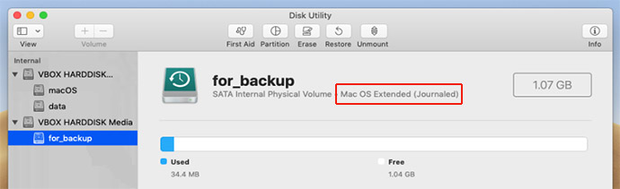 Mac OS Extended (Journaled) disk