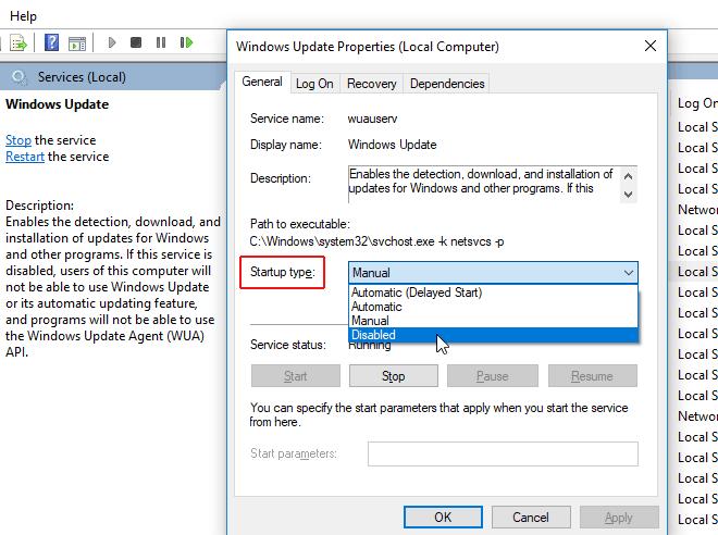 vô hiệu hóa cập nhật cửa sổ 10