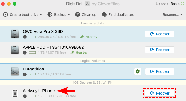 recover deleted photos from iphone with disk drill