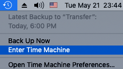Emptied Trash on Mac Enter Time Machine