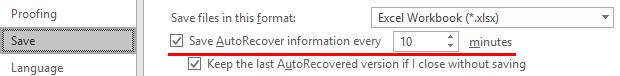 recover excel file not saved