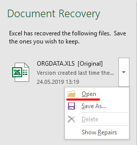how to recover excel document