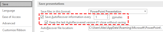 recover powerpoint file not saved