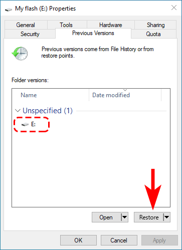"""recover deleted files windows 10 using """"Restore previous versions"""" feature"""