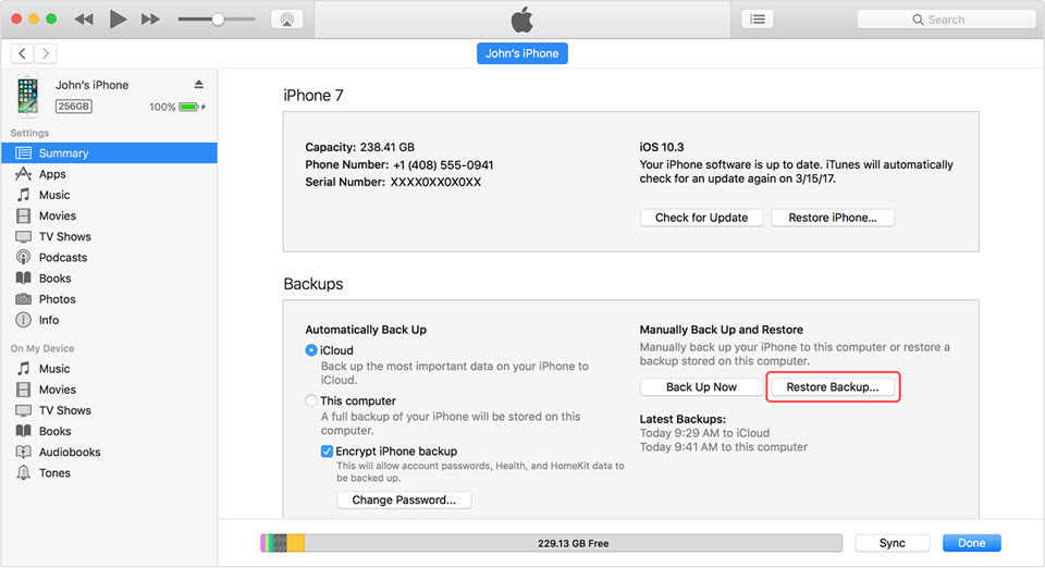 restore deleted photos iphone with itunes