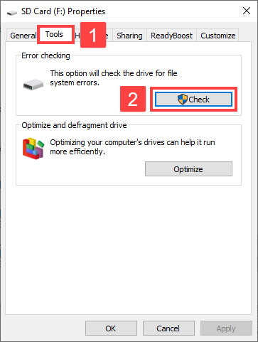 how to fix corrupted micro sd card using windows repair tool