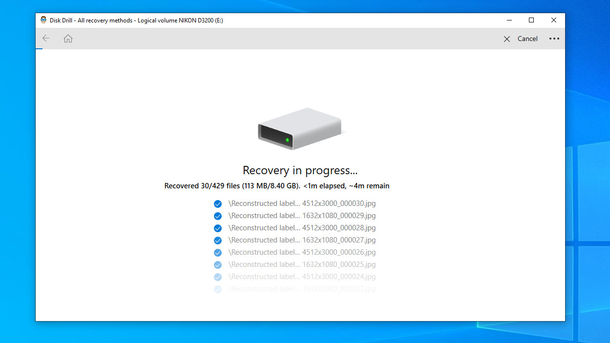 Disk Drill on Windows 10 SD card recovery process