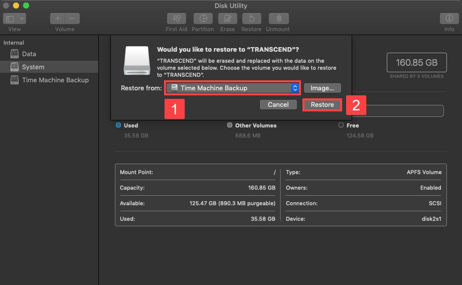 disk utlity backup select