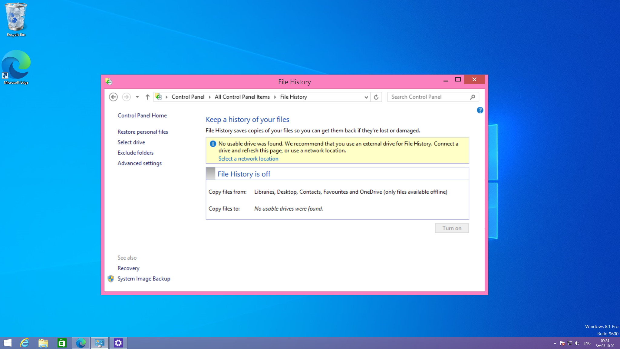 Recover deleted files on Windows 8 using File History option