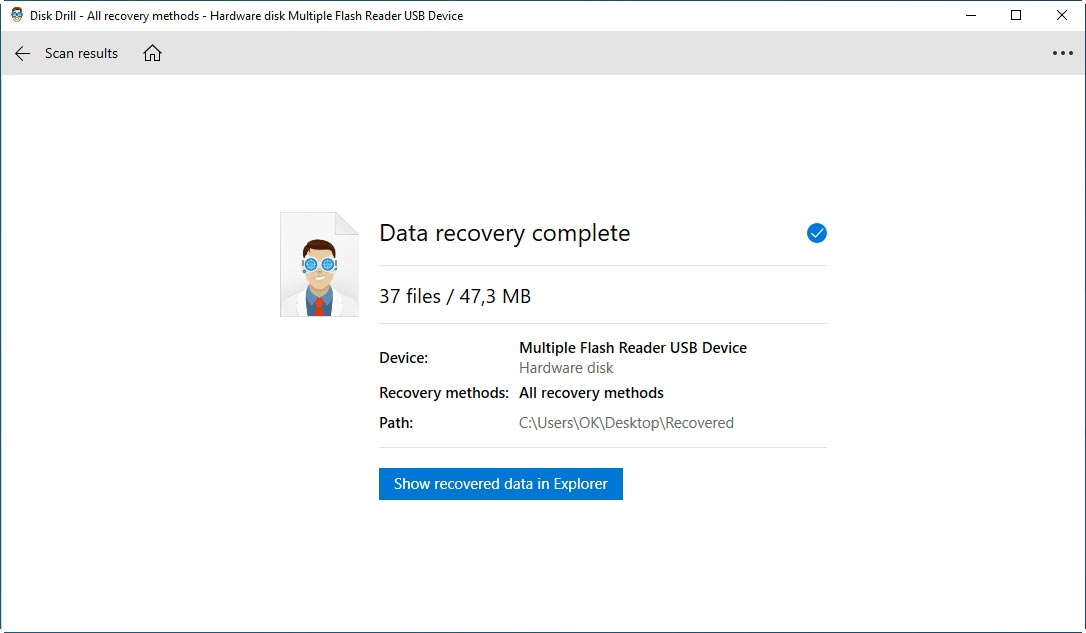 Disk Drill Recovery Complete Screen