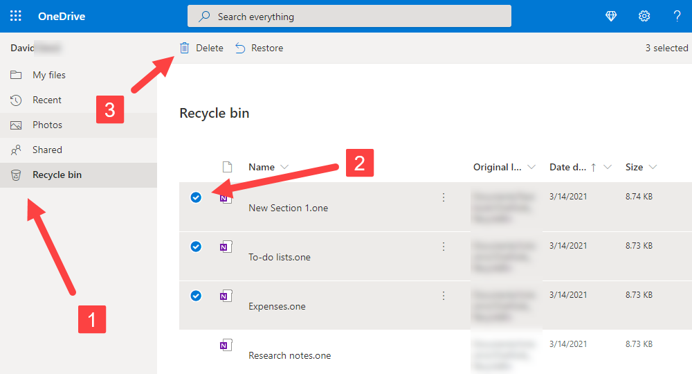 Recover Deleted Files from OneDrive Recycle Bin