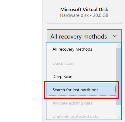 Search for lost partitions