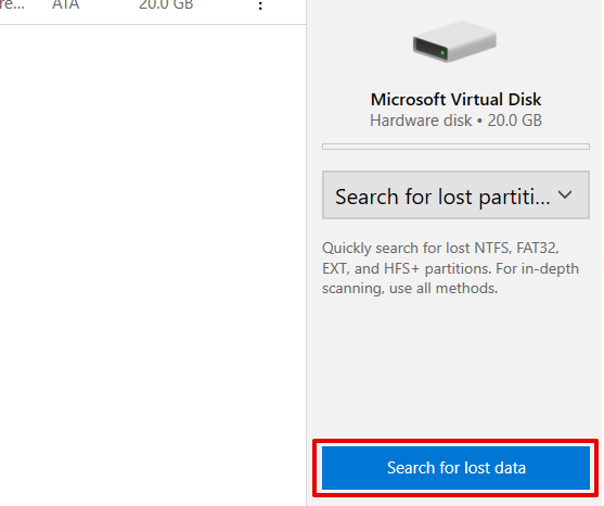 Search for lost data
