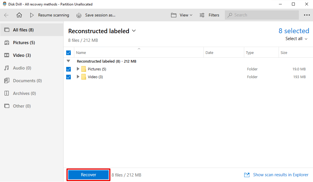 how to recover unallocated partition
