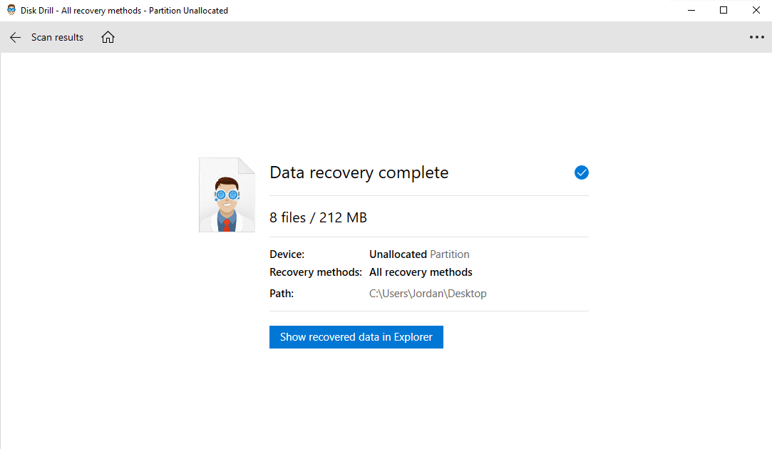 Show recovered data in Explorer