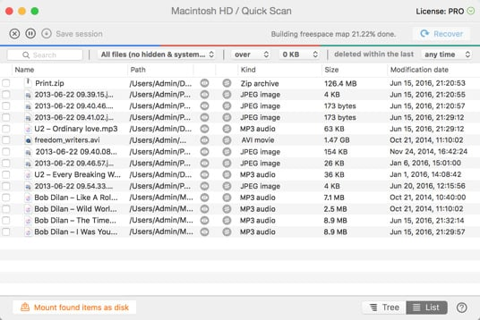 Quick Scan for HFS+, FAT and NTFS Drives