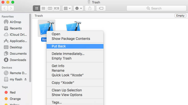 get back deleted files on mac via Put Back Option
