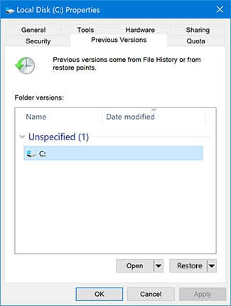 recover permanently deleted files via previous version
