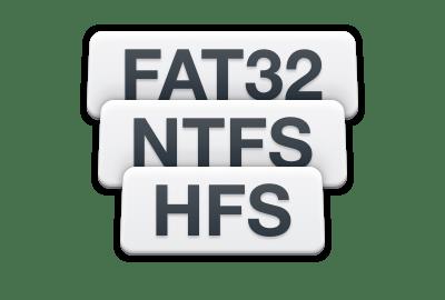 Herstel verloren data van FAT, NTFS, HFS+, etc.
