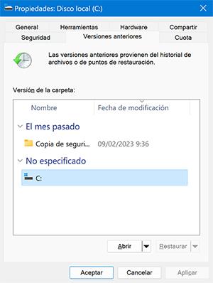 recuperar archivos borrados permanentemente a través de la versión anterior