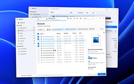 Windows용 Disk Drill에서 이용 가능한 장치 나열하기