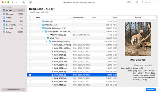 Scan, Review and Recover - Simple Data Recovery for Mac