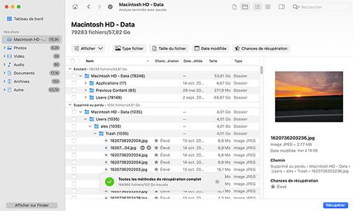 Analyse, examine et récupère - Récupération simple pour Mac