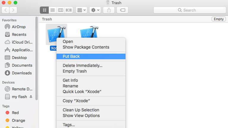 get back deleted files on mac via Put Back Option
