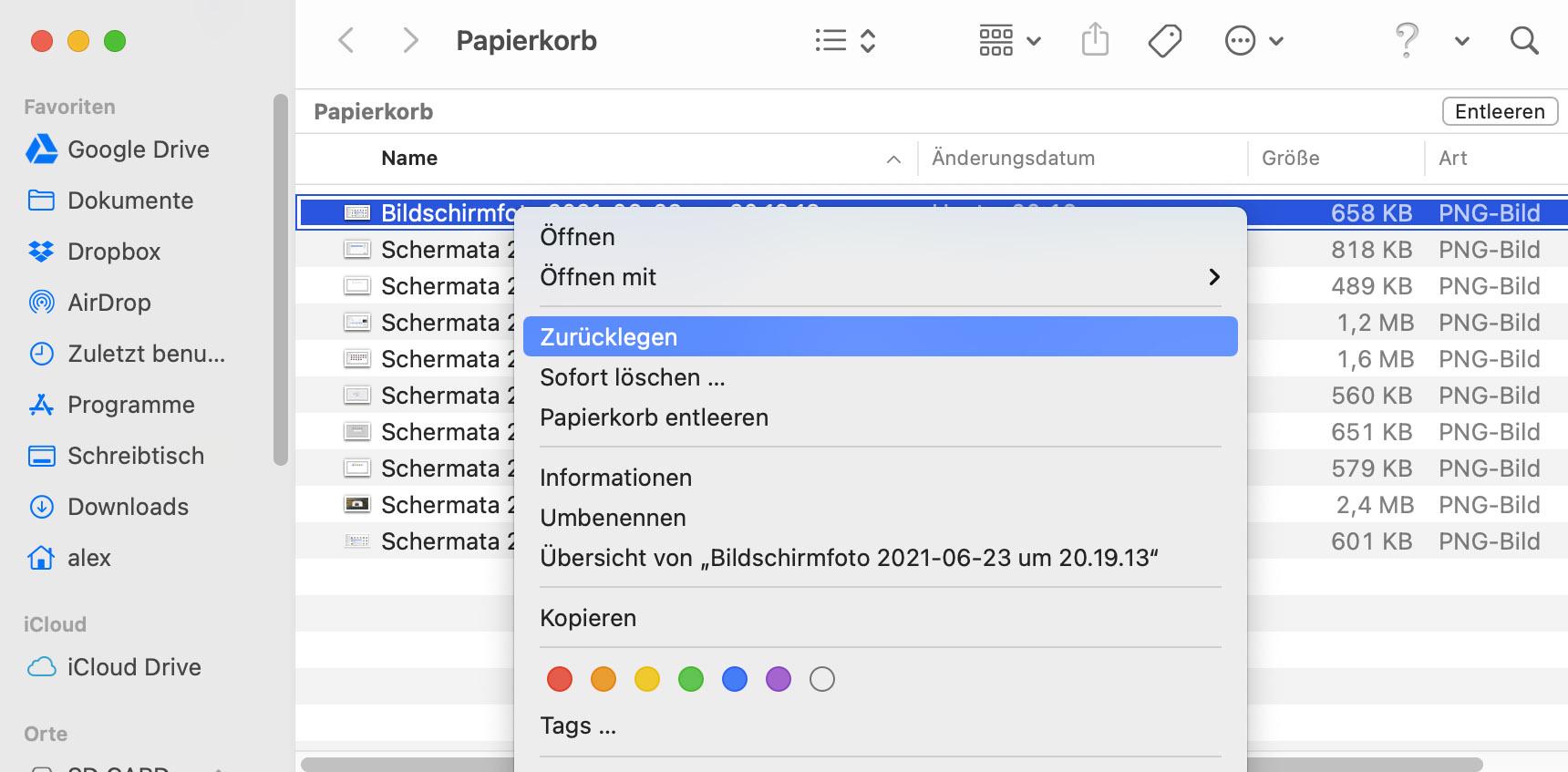 Papierkorb Dateiwiederherstellung