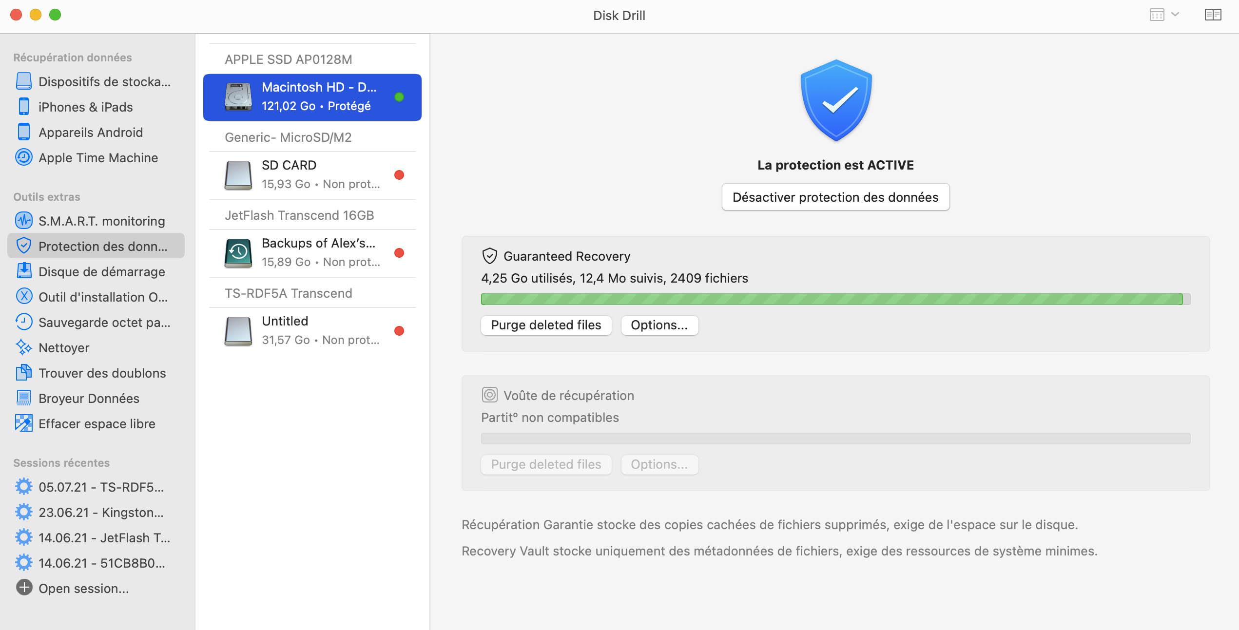 Protection de carte SD sur Mac